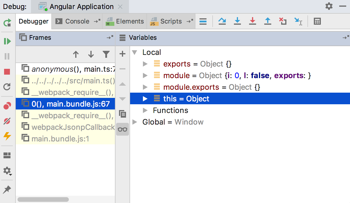 Debugging Angular: examine the suspended application in the Debug tool window
