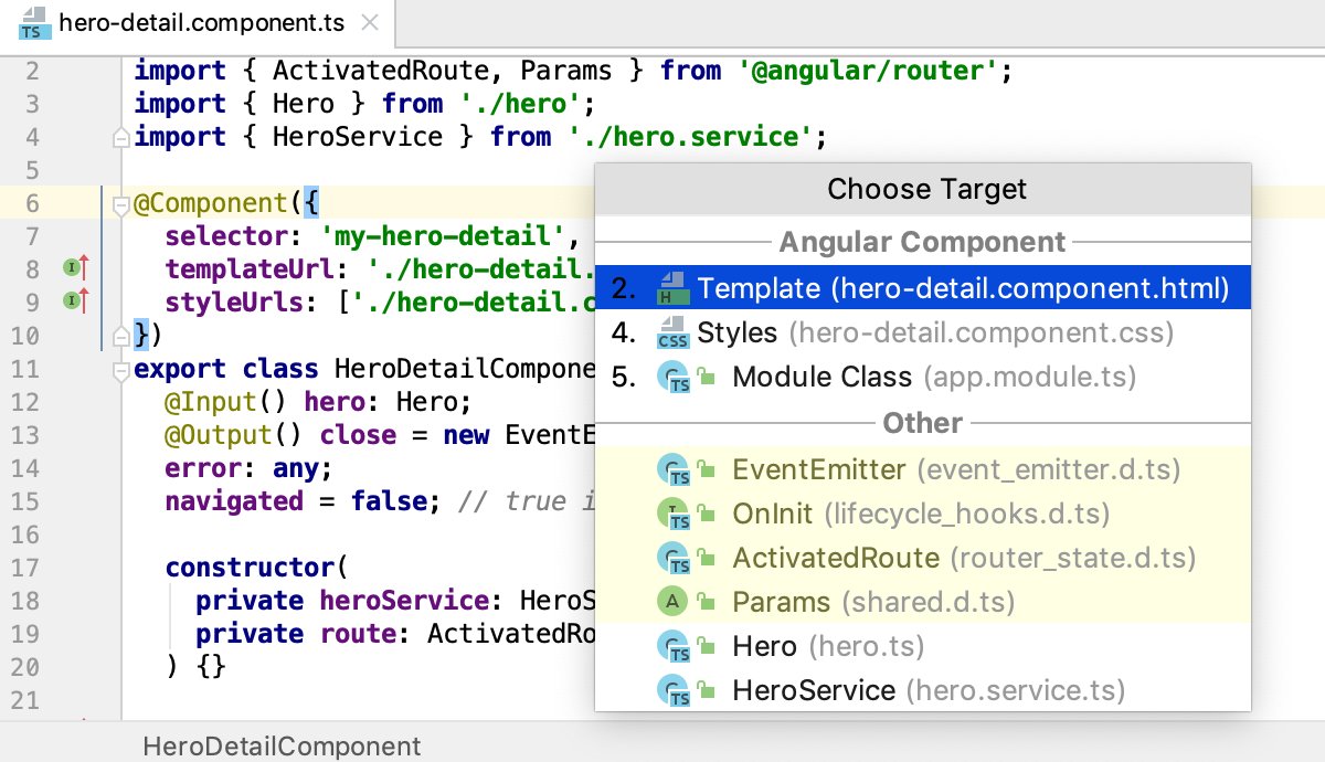 Navigating through an Angular app using the Related Symbol popup