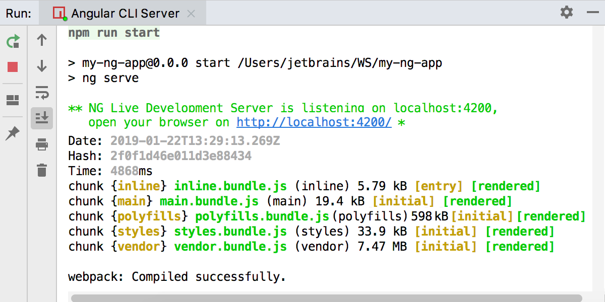 Running Angular CLI app: the Webpack Debelopment server is ready