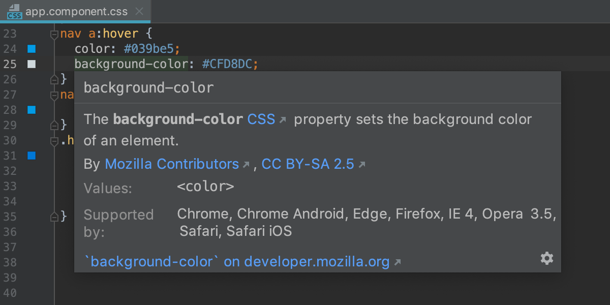 CSS quick documentation: compatible browsers are listed