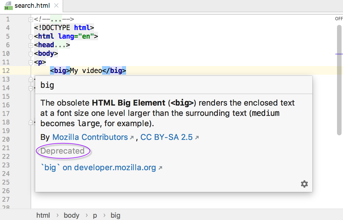 HTML quick documentation: status Deprecated for <big&gt; tag