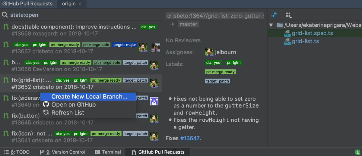 GitHub Pull Requests wool window