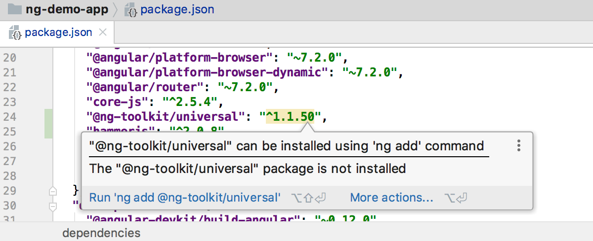 IntelliJ IDEA suggests adding a dependency with ng add