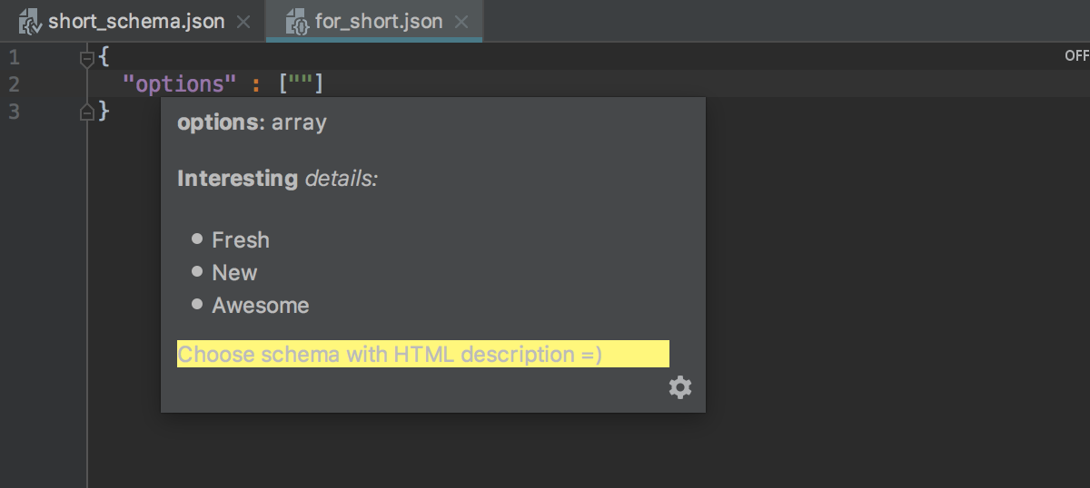 HTML descriptions in documentation for JSON schema definitions with x-intellij-html-description property