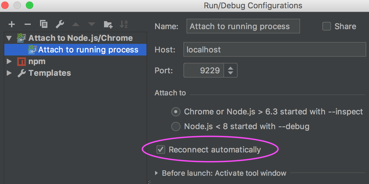 Attach no Node.js run configuration: select the Reconnect automatically checkbox