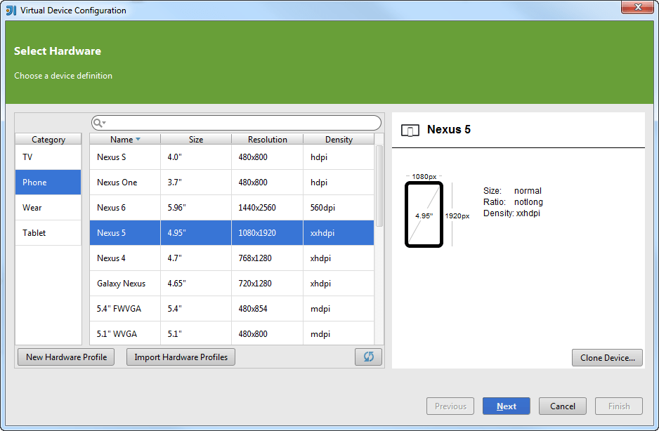 Android AVD manager step1