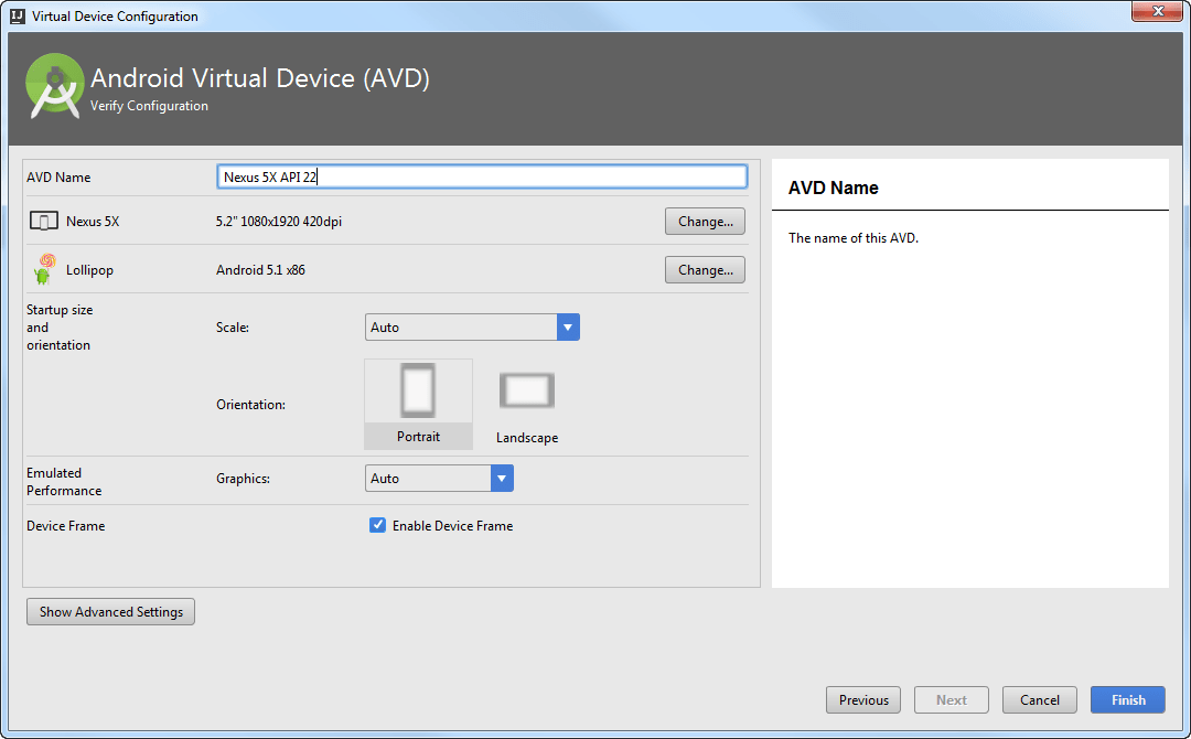 Android AVD manager step3