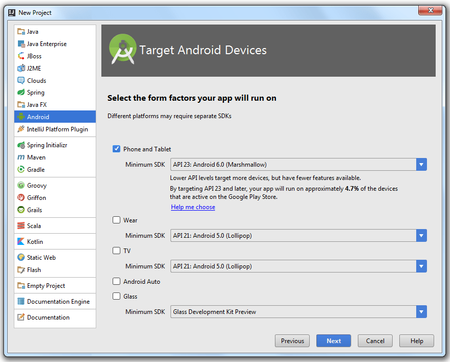 Creating a New Android Project - Help | IntelliJ IDEA