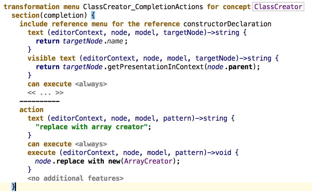 ClassCreator CompletionMenu