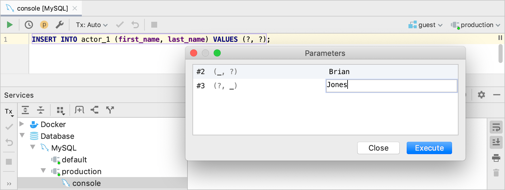 Run a statement with parameters
