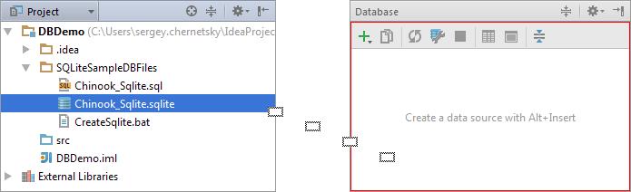 Drag a database file