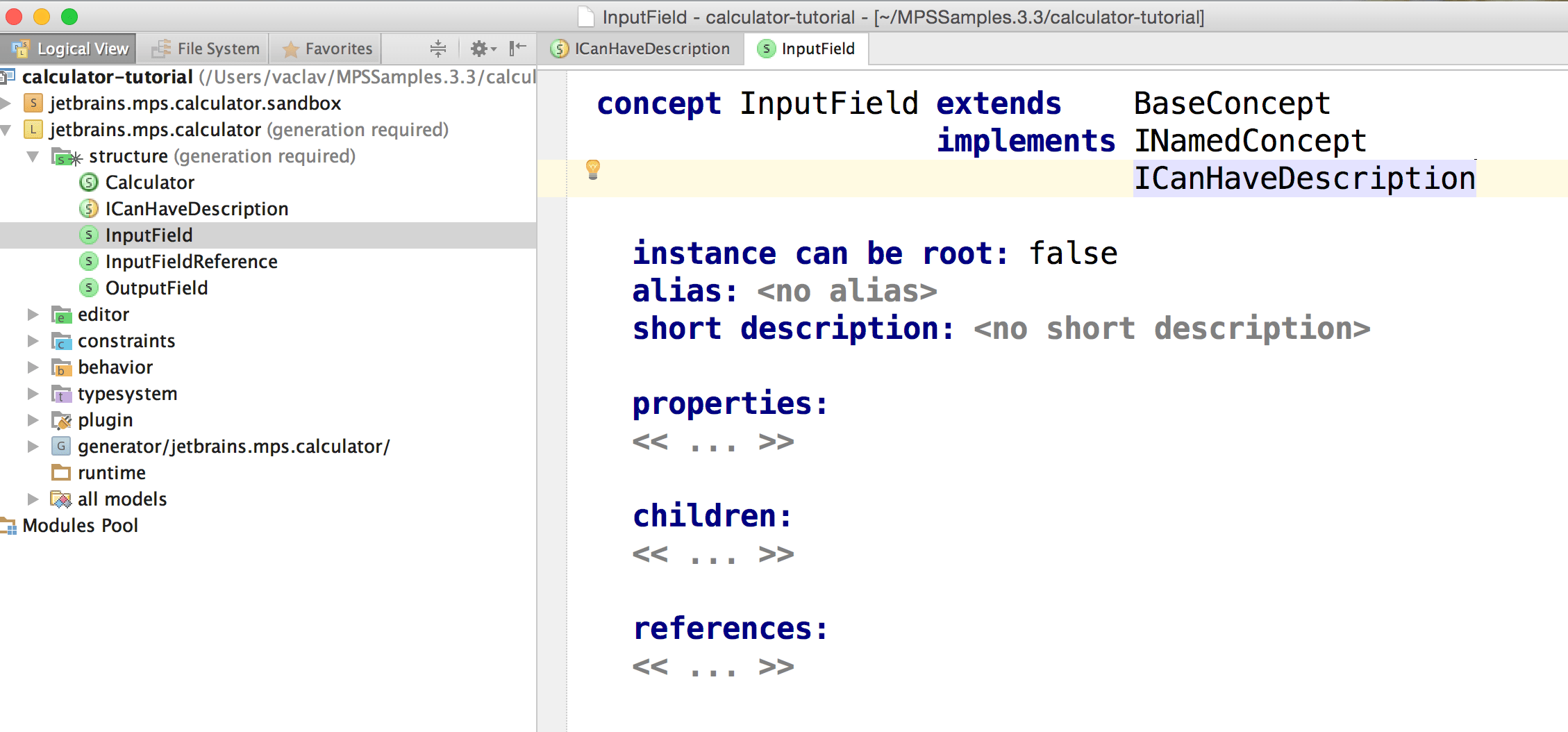 Implementing the ICanHaveDescription interface
