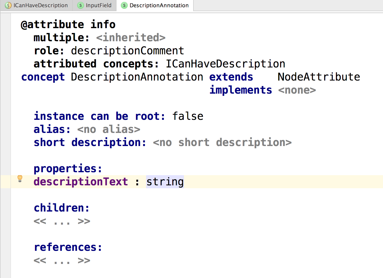 Adding the description text