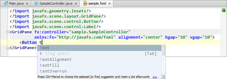 Developing a JavaFX Hello World Application: Coding Examples - Help