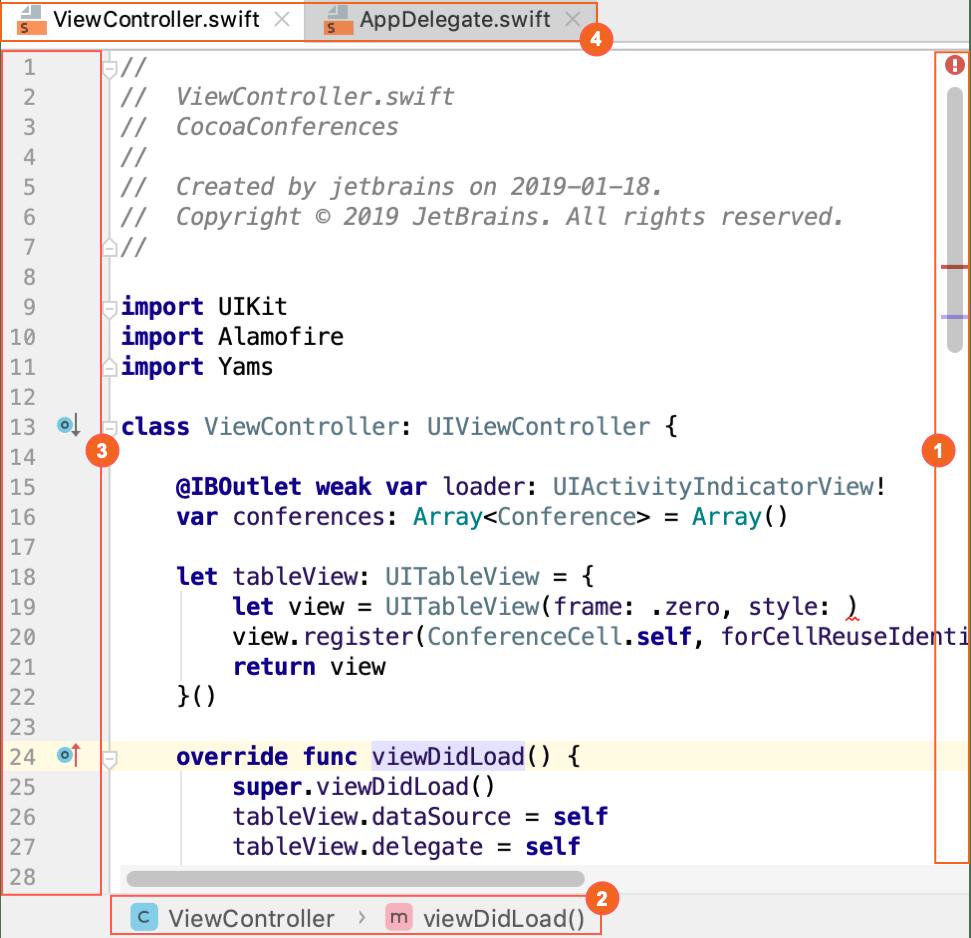 Editor basics - Help | AppCode