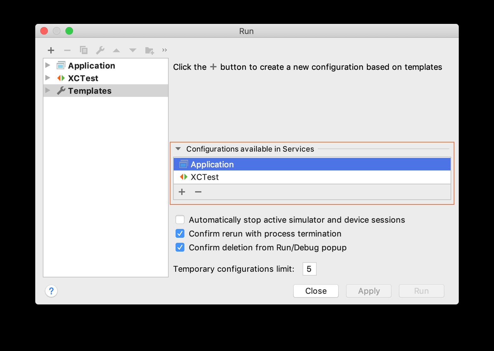 Creating and Editing Run/Debug Configurations - Help | AppCode