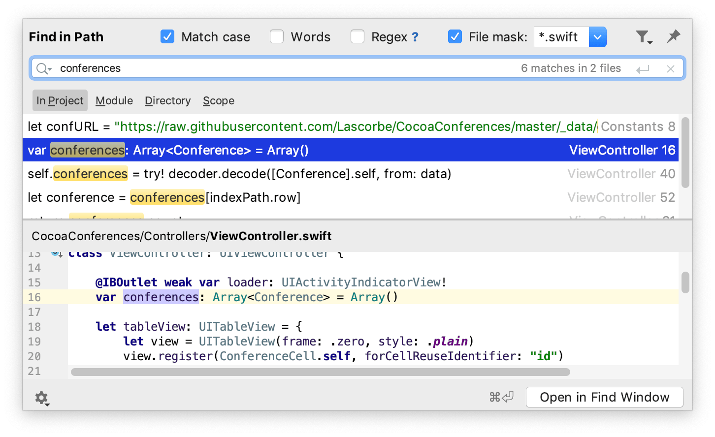 Find and replace in project - Help | AppCode
