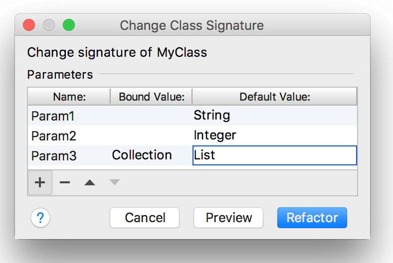 Change a class signature