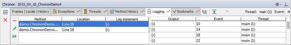 Output of the logging statement