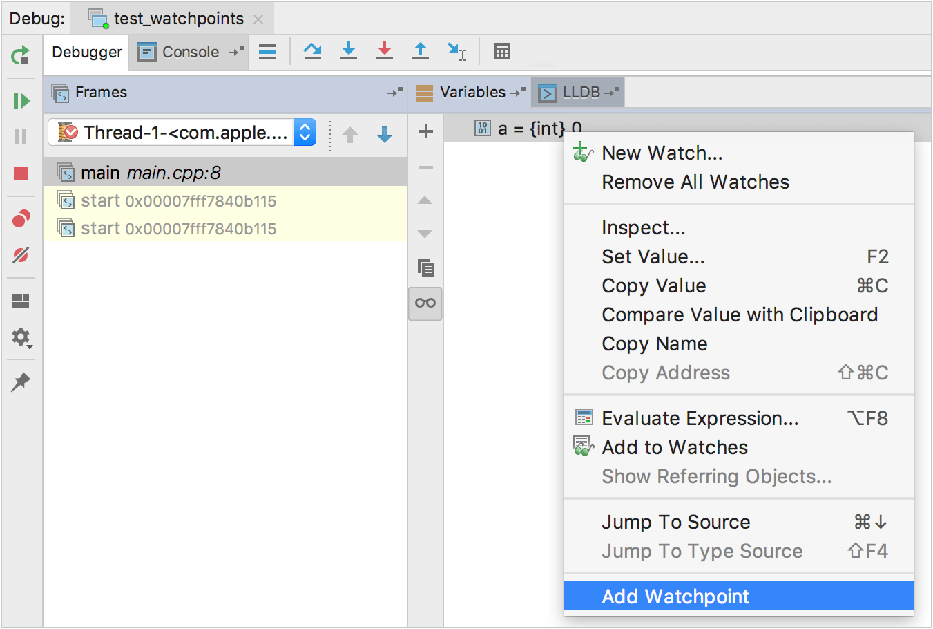 Watchpoints - Help   CLion