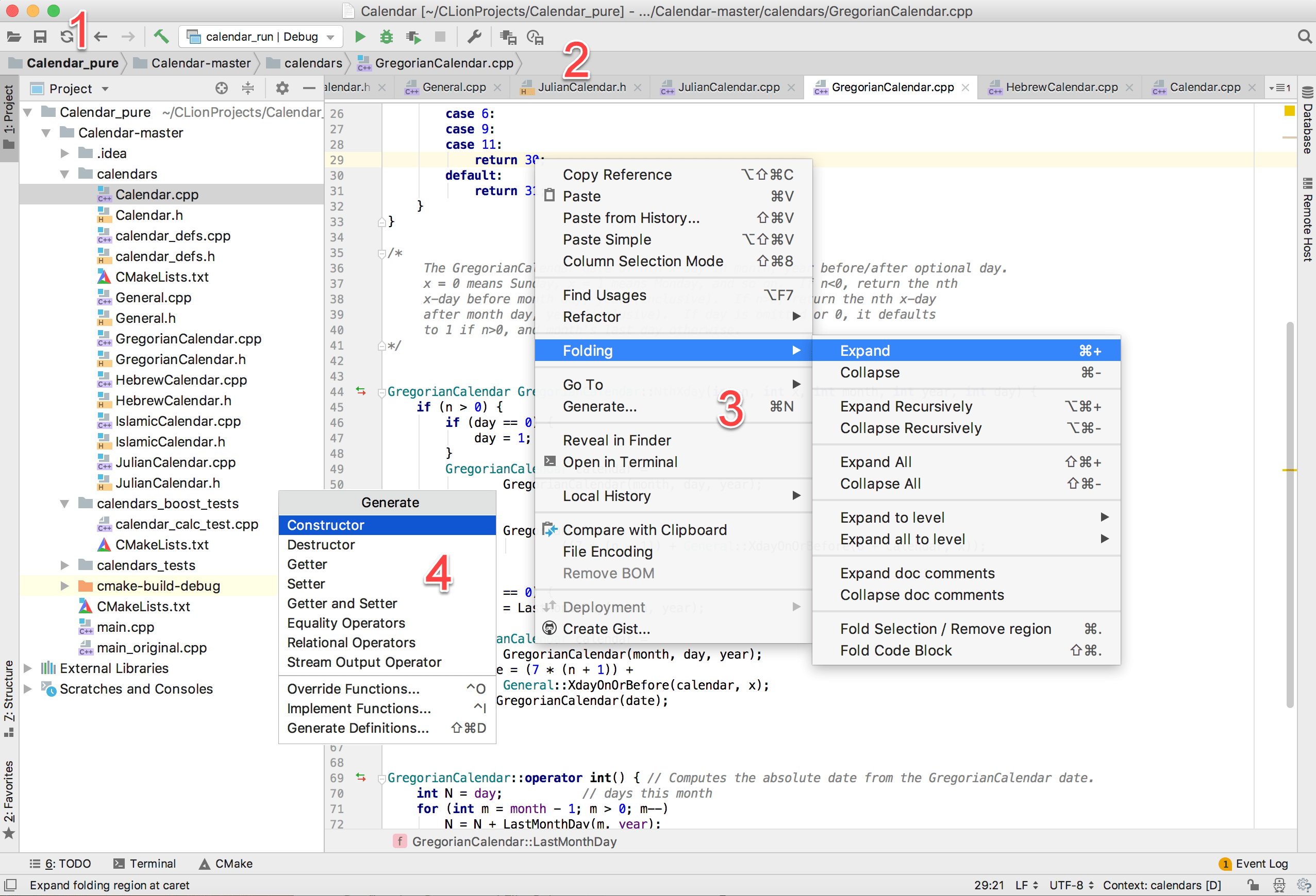 Menus and toolbars - Help | CLion