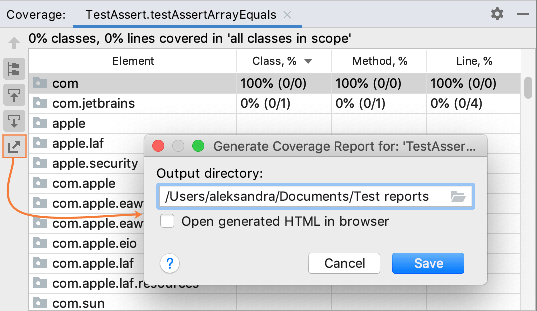 Generating code coverage report - Help | IntelliJ IDEA
