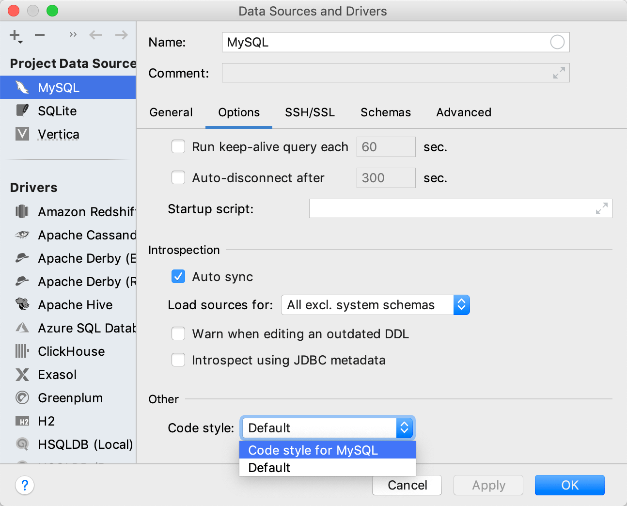 Configure code styles per data source