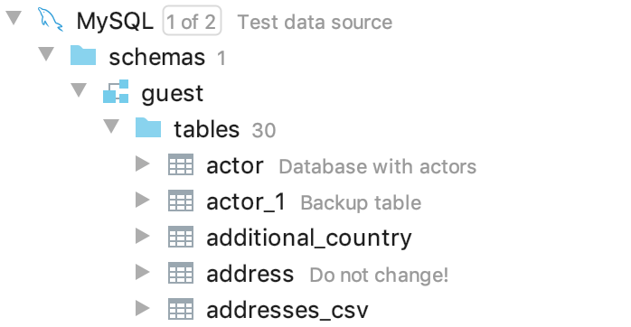 Show descriptions for databases and tables