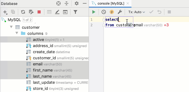 Сolumns - Help   DataGrip
