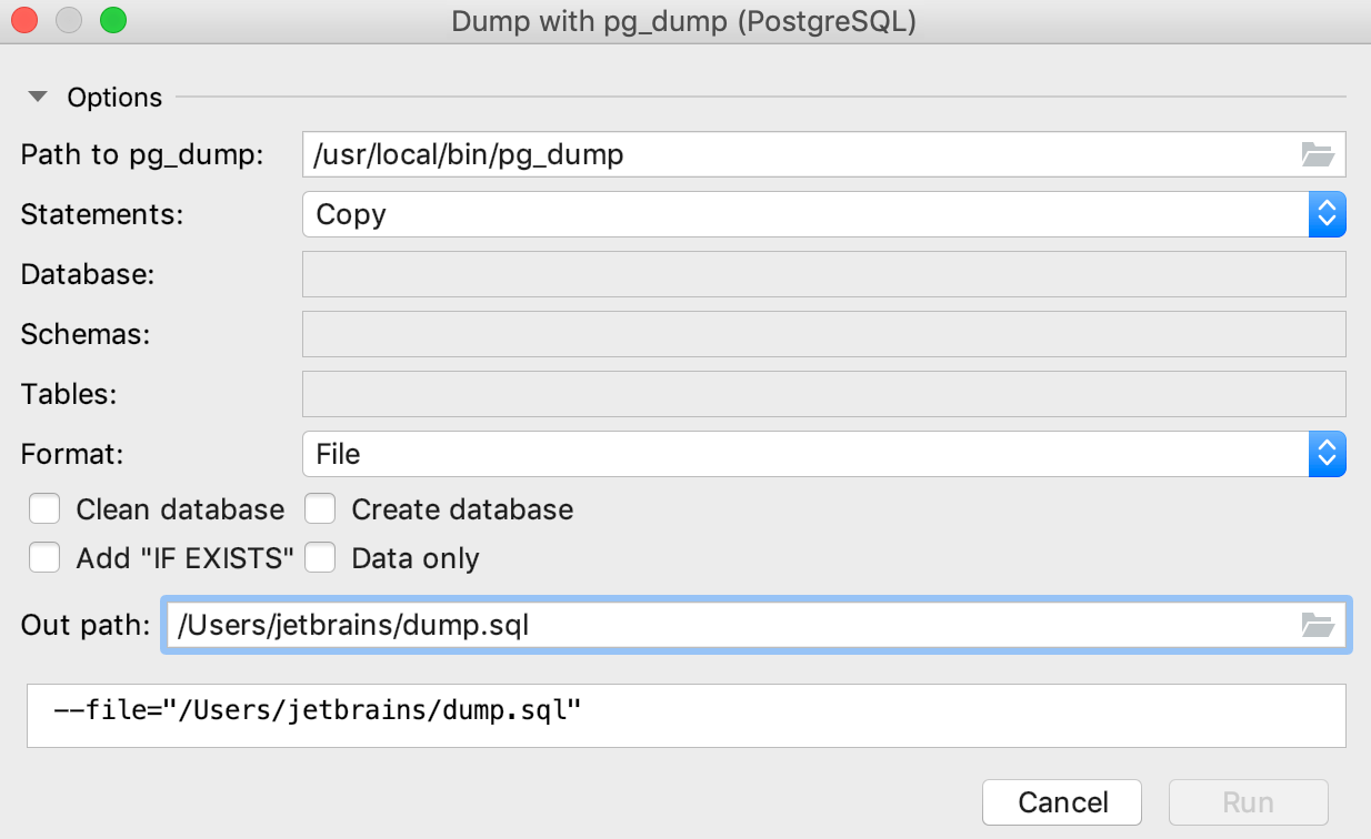 Dump data with pg_dump