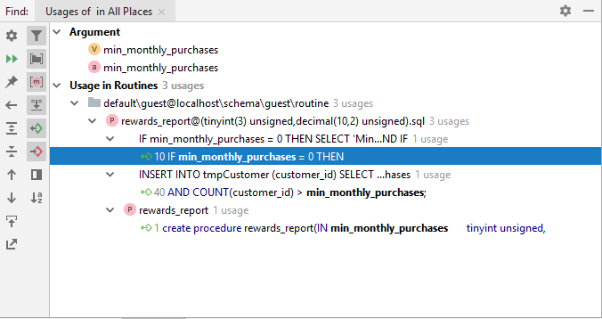 Found Usages in the Find tool window
