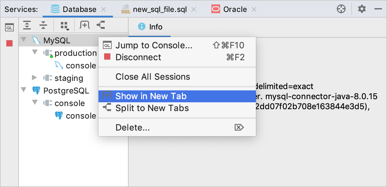Move a session or a data source to a separate tab