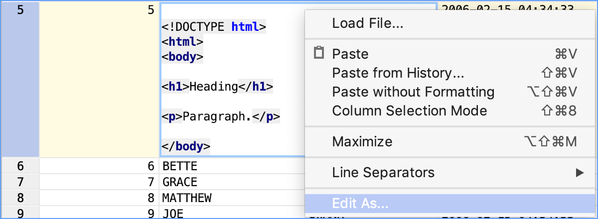 Edit a value in the cell as a fragment of a supported language