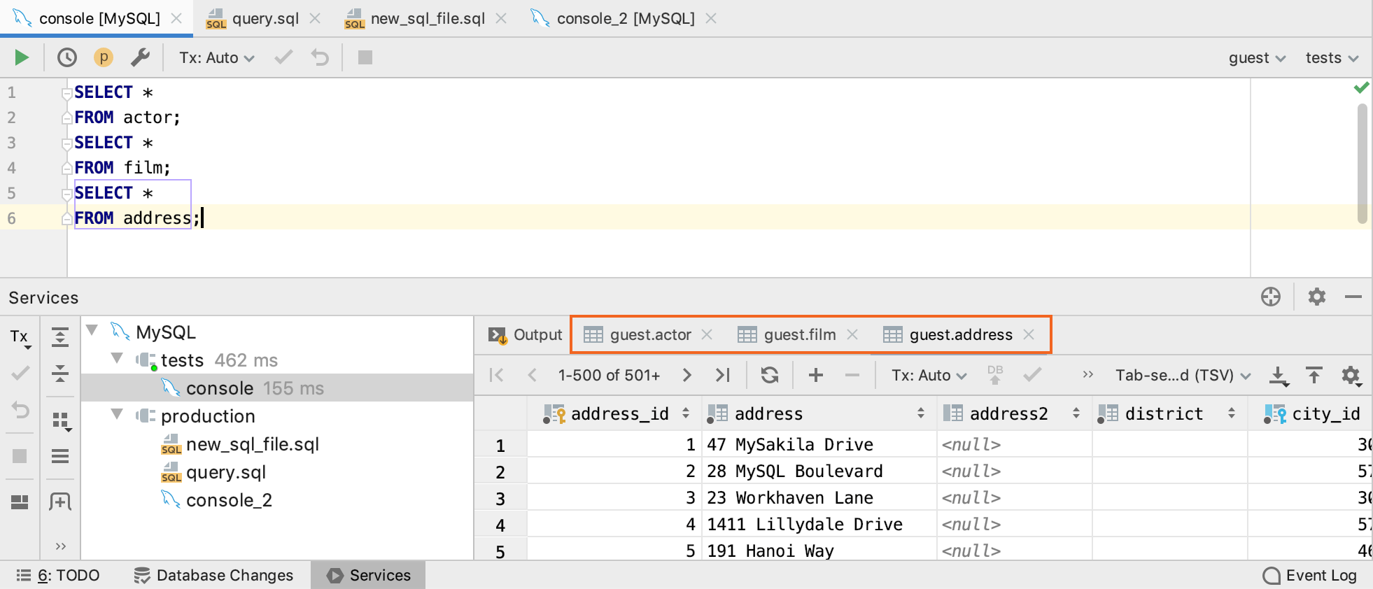Open a new tab for each query