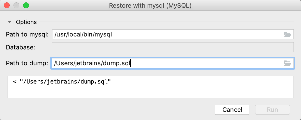 Restore a dump with mysql