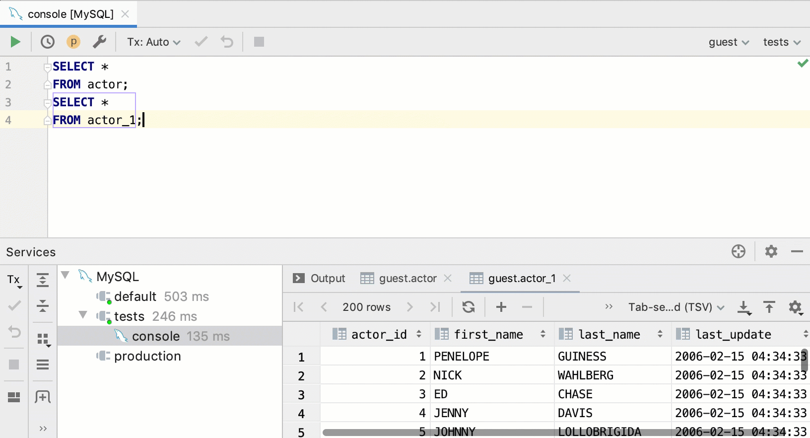 SQL statements - Help | IntelliJ IDEA