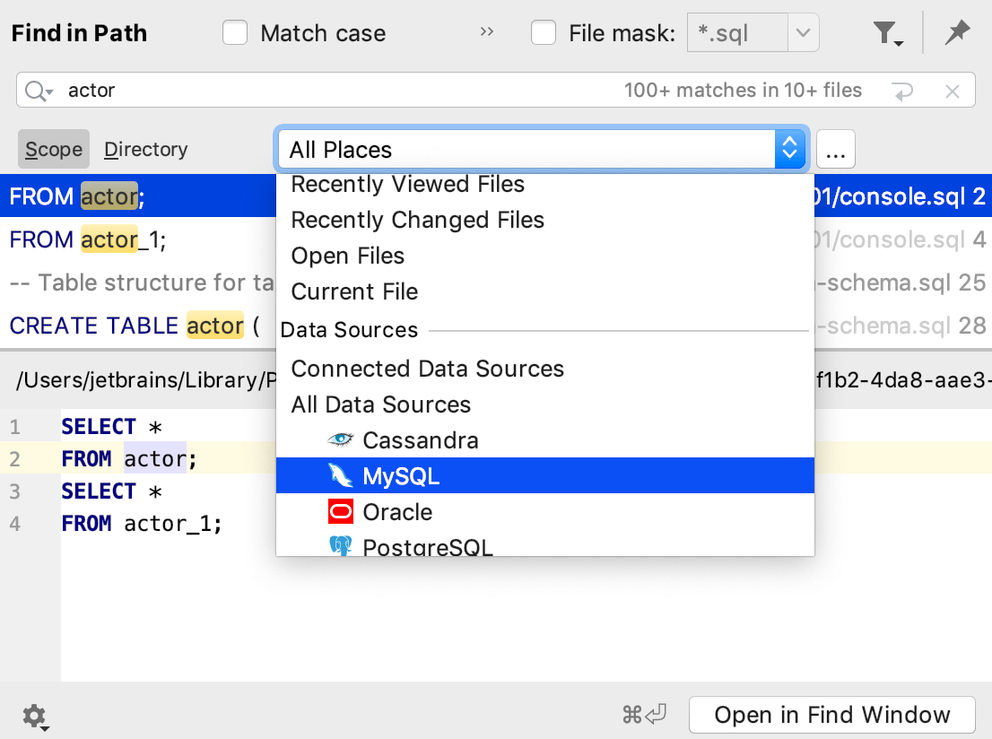 Finding and replacing text in a project - Help   DataGrip