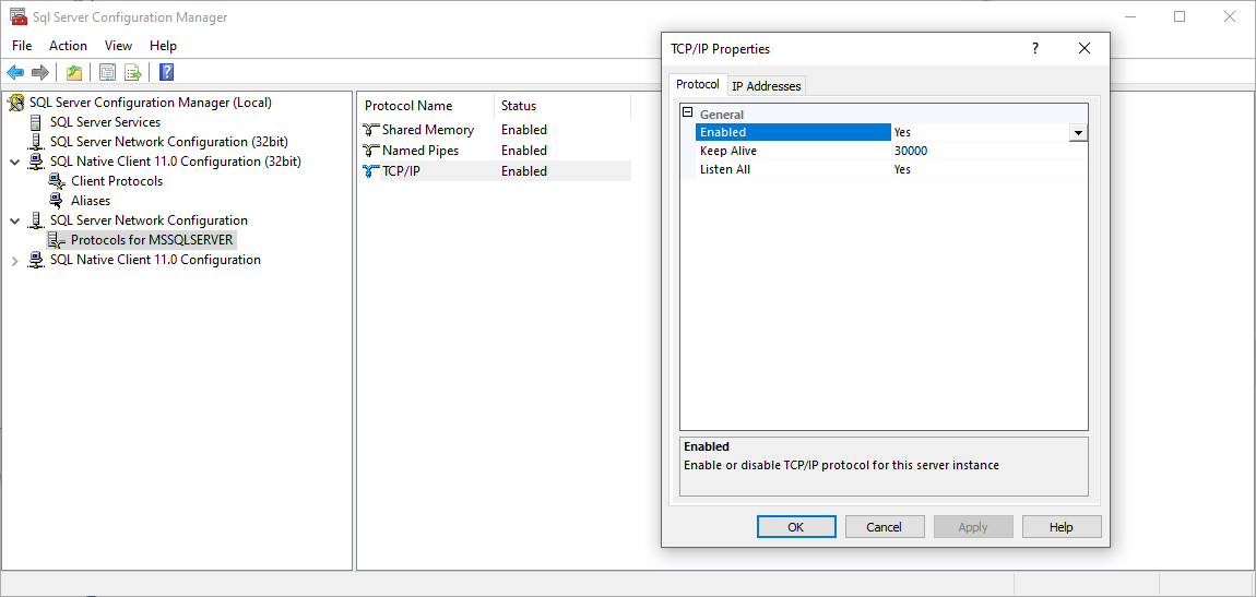 Enable the TCP/IP connection