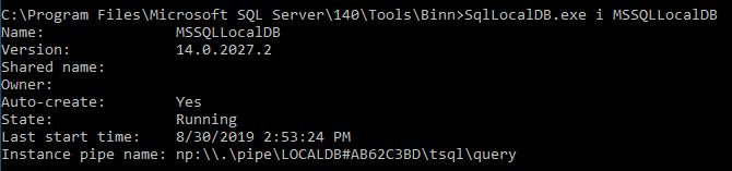 Run SqllocalDB.exe i MSSQLLocalDB command