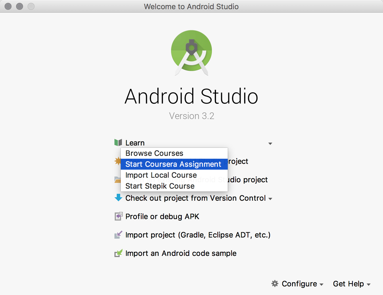Coursera assignments in Android Studio