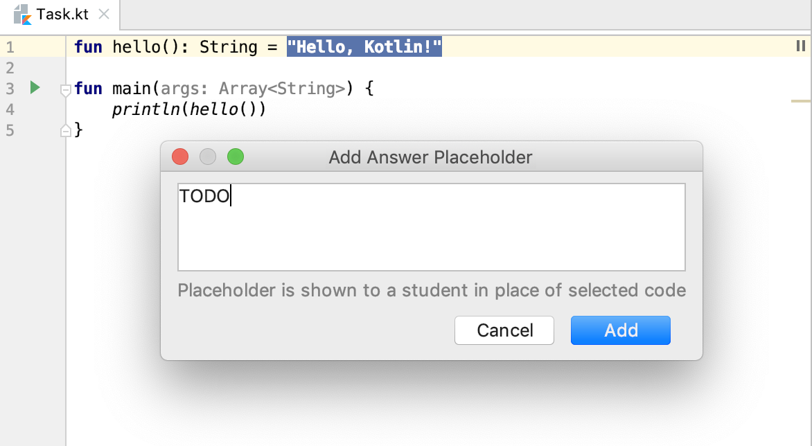 edu framework lesson add placeholder kotlin