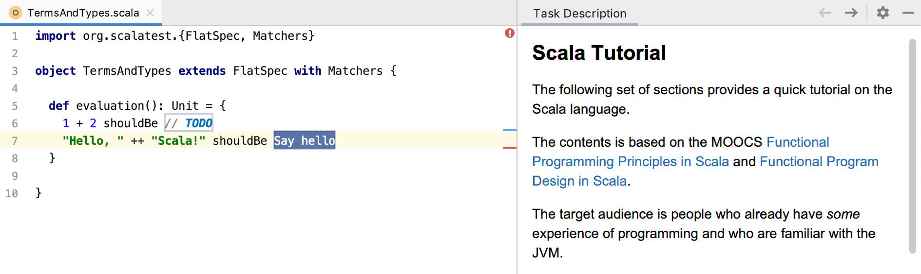 edu task description scala tutorial