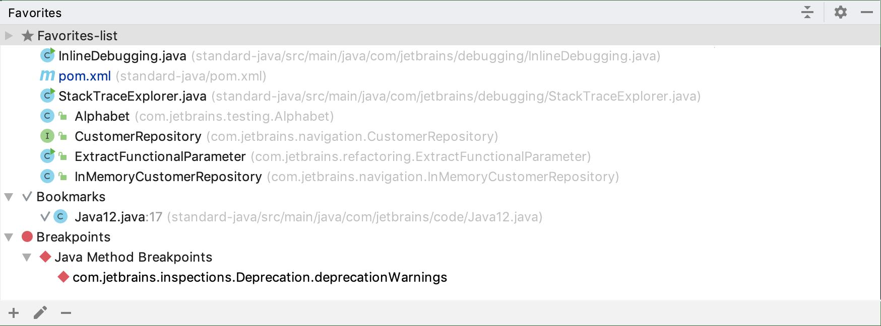 Favorites tool window