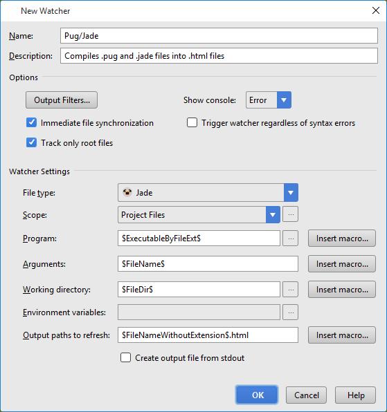 Pug Jade Template Engine Help Webstorm