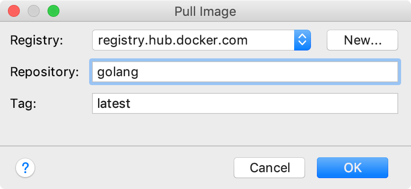 The Pull Image dialog