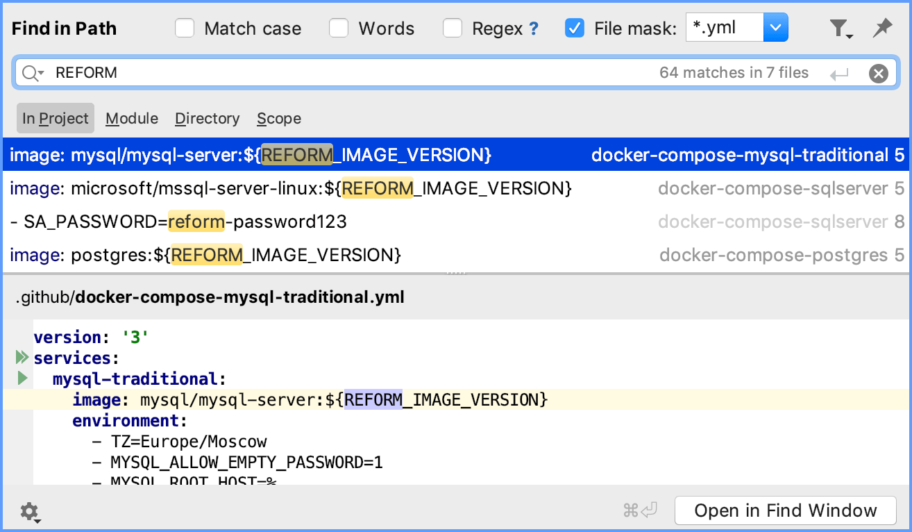 Finding and replacing text in a project - Help | GoLand