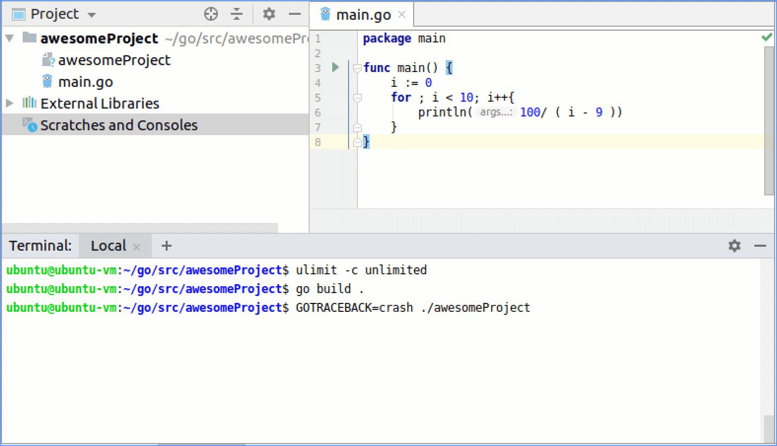 Exploring Go core dumps - Help | GoLand