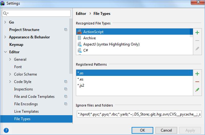 File type settings