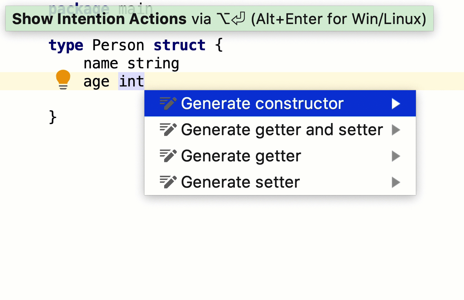 Using the Generate action - Help | GoLand