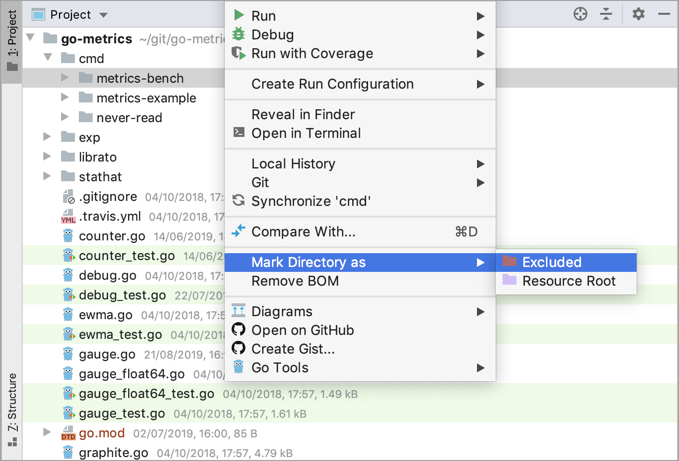 Mark directories in the Project tool window